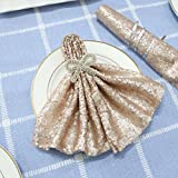 TRLYC Pack of 30 Champagne Sequin Fabric Napkins For Wedding Birthday-20IN x 20IN