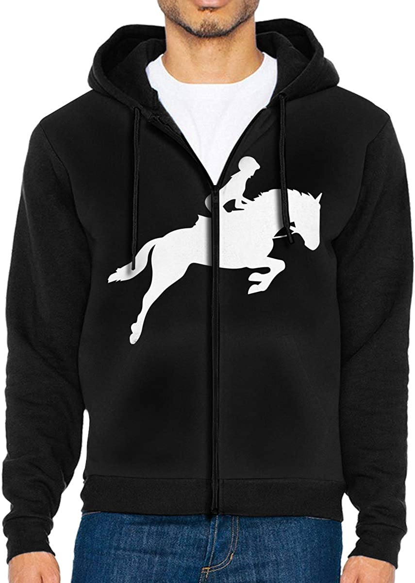 Horse Riding Silhouette-1 Mens Full Zip-Up Fleece Hoodie Outwear