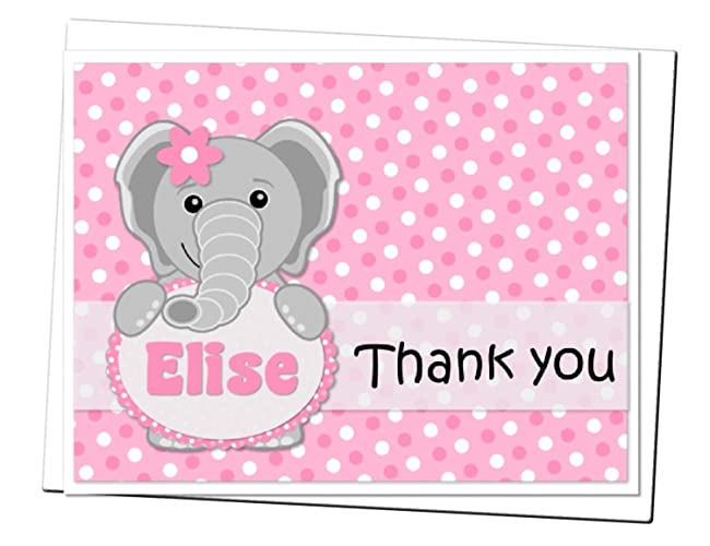 Personalized Elephant Thank You Cards For Baby Shower Or Birthday Party