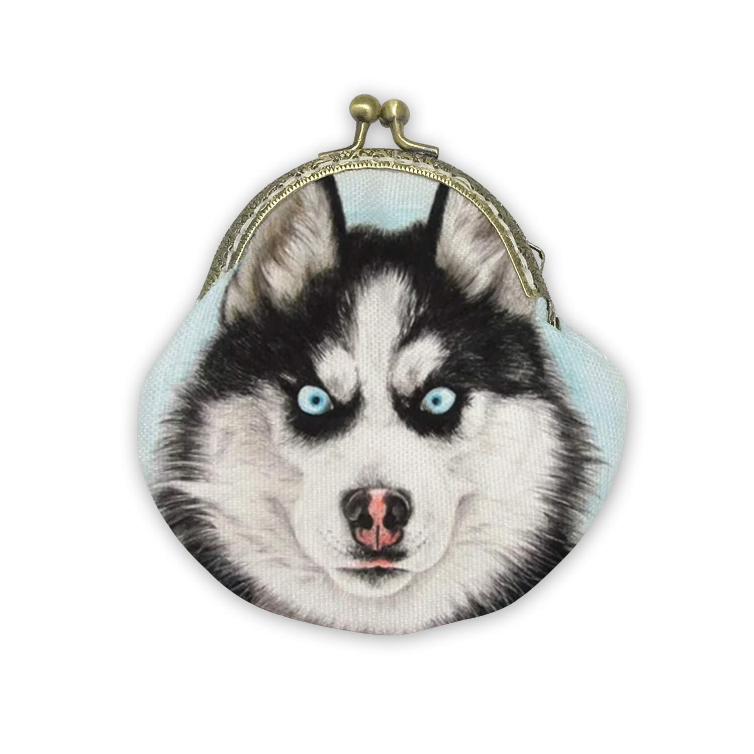Fierce Husky Mouth Gold Bag Canvas Coin Purse Cash Bag Small Purse Wallets Mini Money Bag Change Pouch Key Holder Double Sides Printing