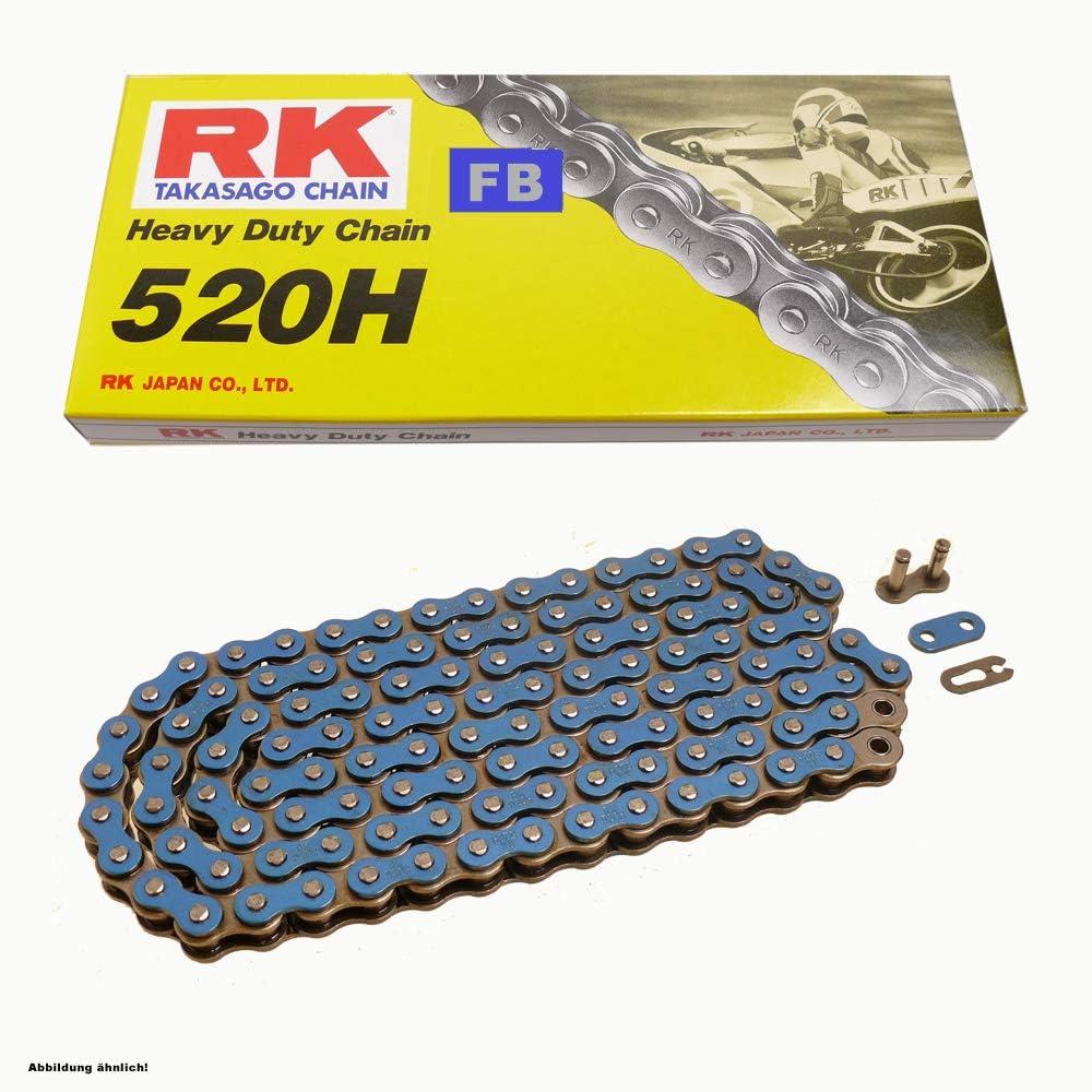 Kettensatz geeignet f/ür Yamaha XV 250 Virago 89-00 Kette RK FB 520 H 114 offen BLAU 16//45