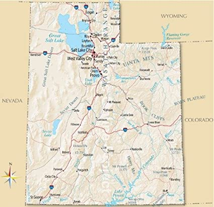 Ut State Map.Amazon Com Utah State Road Map Glossy Poster Picture Photo Banner