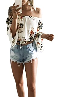 24a0fedf0b7b FELACIA Women s Summer Off Shoulder Blouses Short Sleeves Sexy Tops Chiffon  Ruffles Casual T Shirt