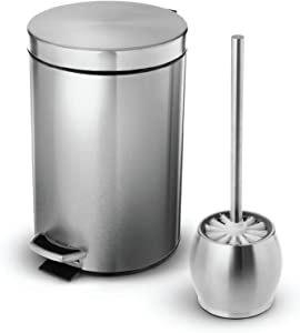 Home Zone Living 1.8 Gallon Bathroom Trash Can and Toilet Brush Combo, Stainless Steel, 7 Liter