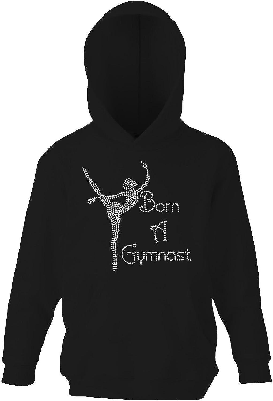 Girls Crystallized Born A Gymnast Gymnastics Hoodie Dance Kids Hoody Varsany
