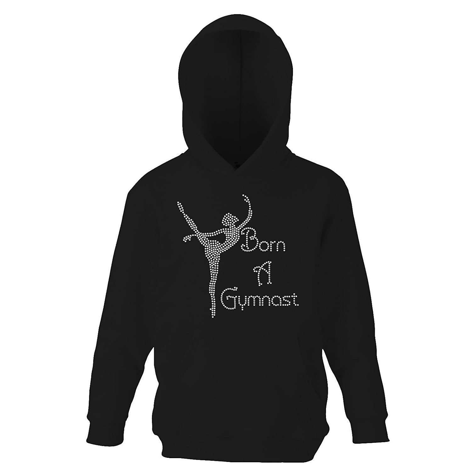 Girl's Crystallized Born To Gymnast Gymnastics Hoodie Dance Kids Hoody(K) By Varsany