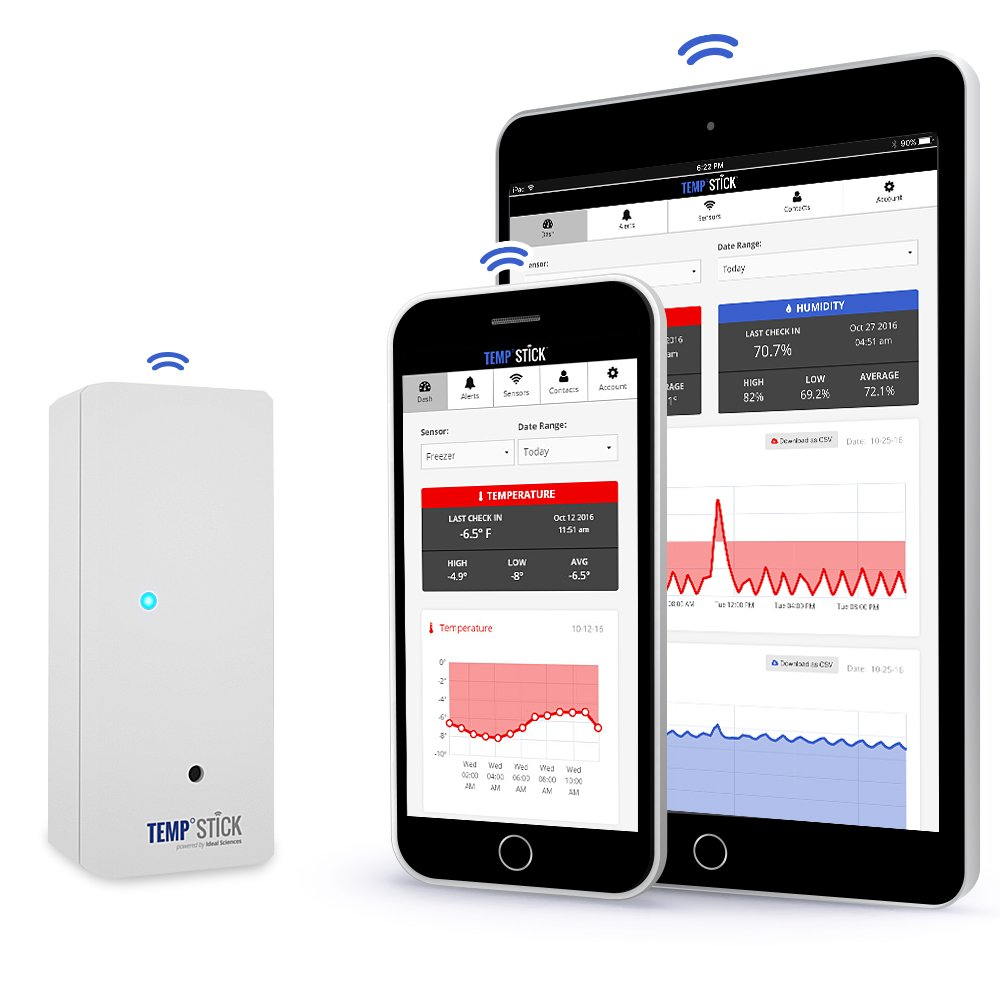 Temp Stick Wireless Temperature Sensor + 24/7 Monitoring, Alerts & Unlimited Historical Data. Connects Directly to WiFi. Free iPhone and Android App, Check-In From Anywhere! - White by Ideal Sciences