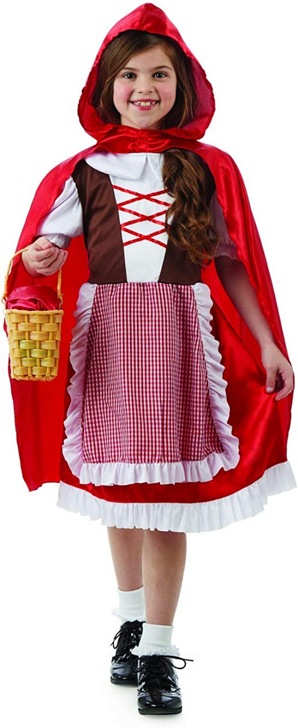 LADIES RED RIDING HOOD ENCHANTRESS COSTUME FAIRYTALE BOOK DAY ADULTS FANCY DRESS