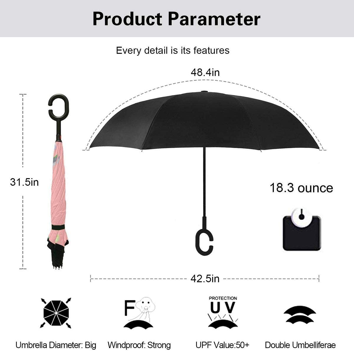 Folding Reverse Umbrella for Car Rain Outdoor PYFXSALA Cute Watercolor Cactus Pattern Windproof Inverted Umbrella Double Layer UV Protection Self Stand Upside Down with C-Shaped Handle