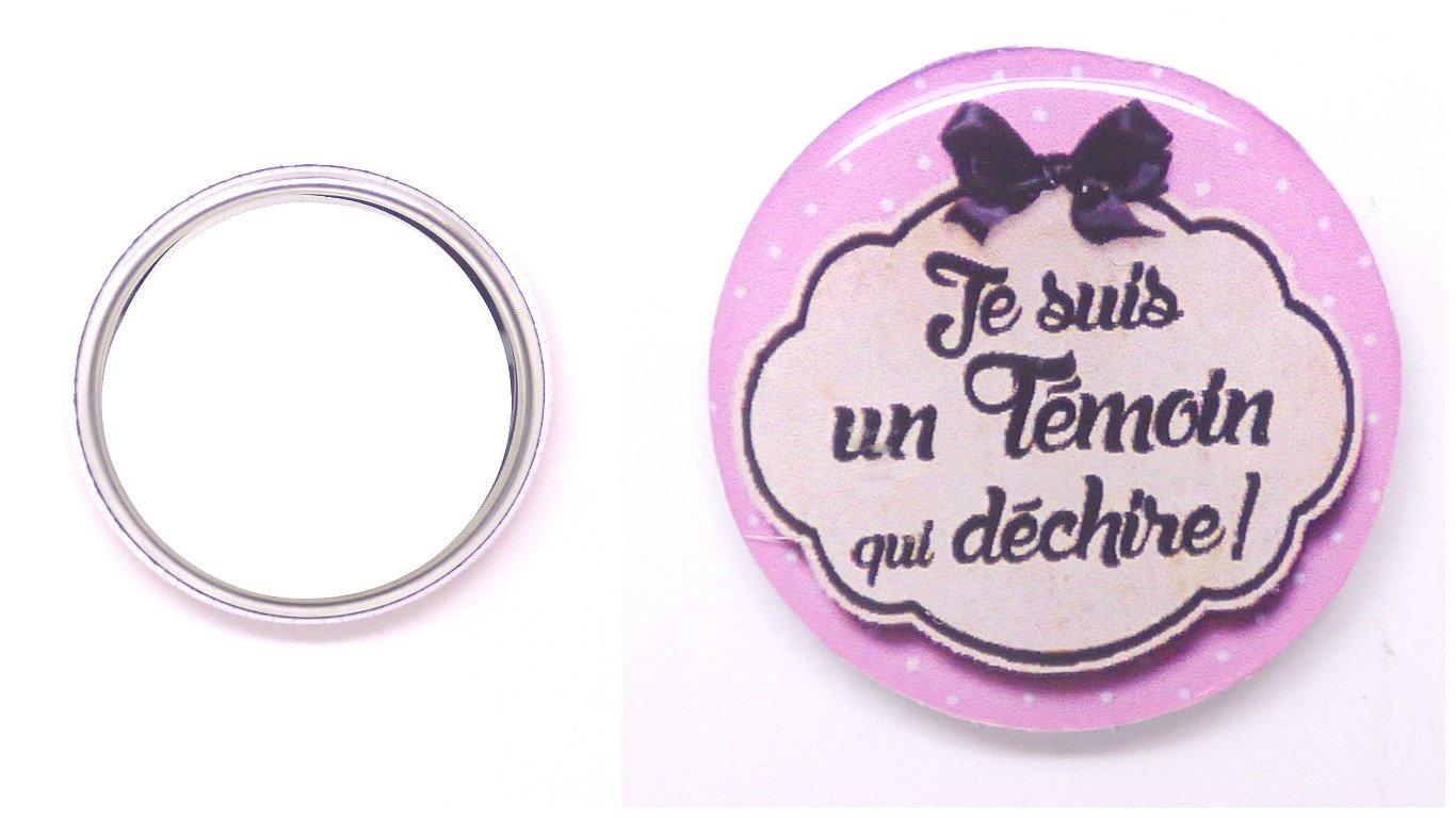 Un Miroir De Poche Argenté Témoin Qui Déchire 56mm Idée Cadeau Anniversaire, Noël, Mariage..
