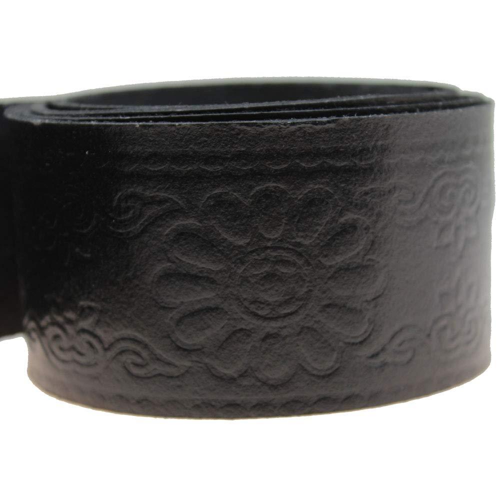 Templar Symbol Embossed Medieval Knight Renaissance Black Genuine Leather Ring Belt