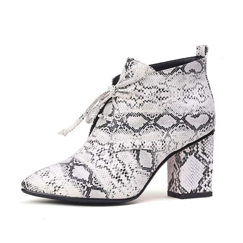 Print Hoxekle Ankle Boot Square Heel Women Lace Up Pointed Toe Footwear Female PU Winter Casual shoes