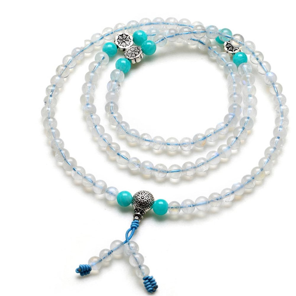 Kind of blue moon natural ice stone108 Buddhist prayer beads bracelet/ stone of love-A