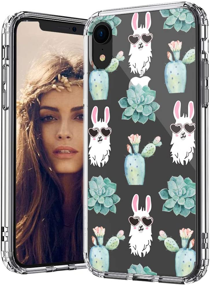 MOSNOVO Llama Succulents Pattern Designed for iPhone XR Case - Clear