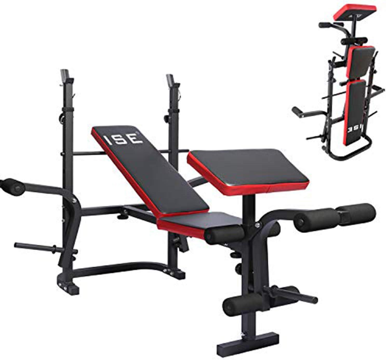 R/ückenlehne in 6 Positionen verstellbar Fitness max Multifunktions-Training Trainingsbank neigbar SY-5021 ISE Faltbare Hantelbank 120 kg