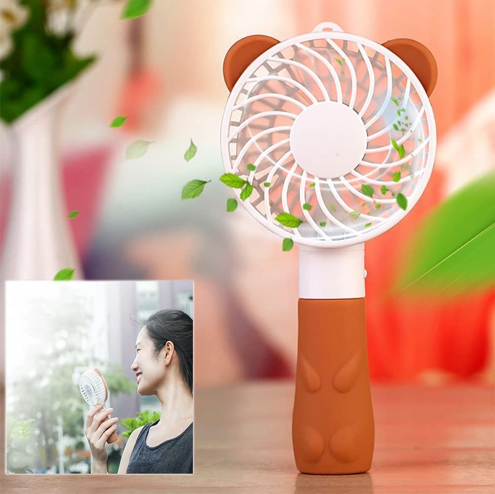Itian Mini Handheld Fan Cute Brown Bear Fan USB Rechargeable Silent Fan Electric Cooling for Home and Traveling