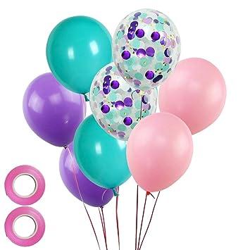 Amazon.com: Globo de fiesta de sirena con 50 globos de látex ...