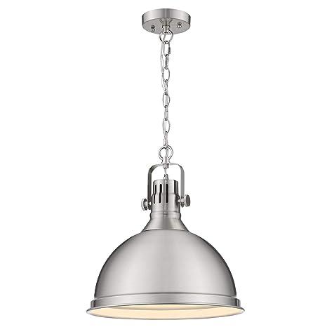 Emliviar 14 Inch Pendant Lighting Modern Metal Cage Hanging Light For Kitchen Brushed Nickel Finish 4054l Bn