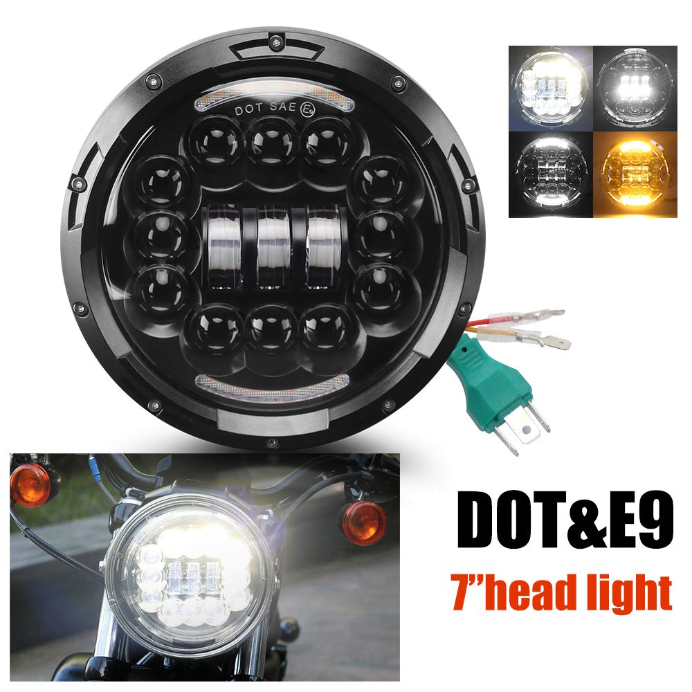 7 inch LED Headlight 2 Color Projection Daymaker Cree E-MARK Approved 6000K Hi/lo Beam and DRL Headlamp Halo for Harley Davidson Motorcycle J-eep Wrangler ...