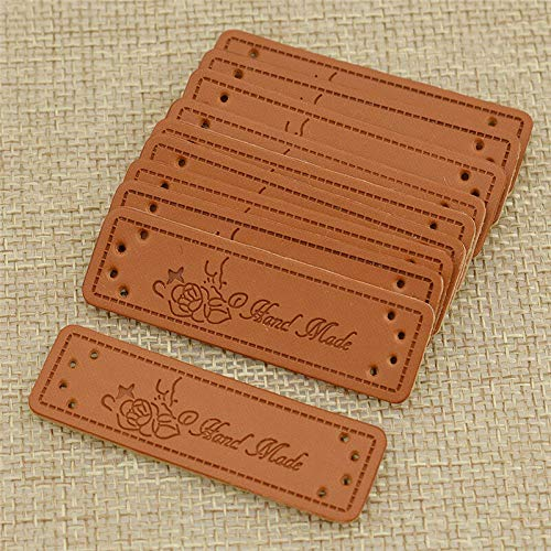 50pcs PU Leather Labels Tags for Clothes Bags Decor Accessories Handmade DIY (Model - #05)