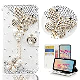 STENES Bling Wallet Phone Case Compatible with iPhone 11 - Stylish - 3D Handmade Butterfly Pearl Pendant Rhinstone Diamond Design Leather Cover Case - White