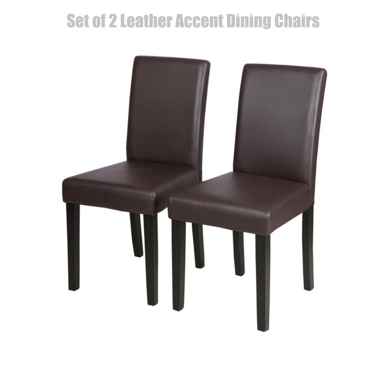 Modern Design Dining Chairs Sturdy Wooden Frame Waterproof Half PU Leather Seat Home Office Furniture Set of 2 Brown #1449a