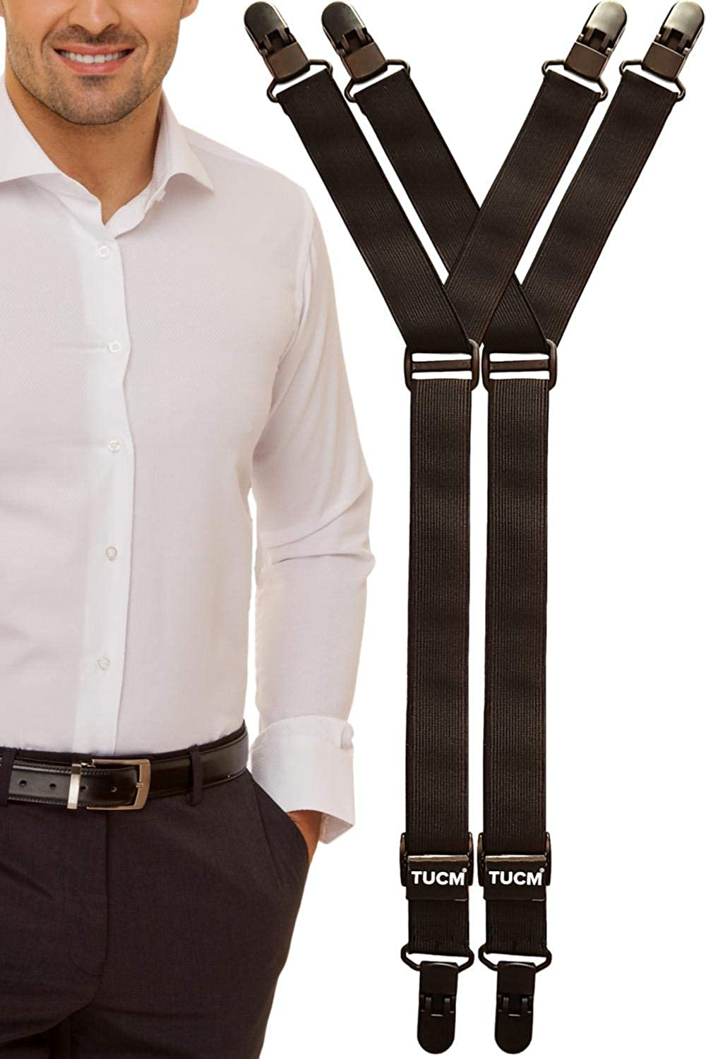 Shirt Stays Made in the UK   Comfort 2-in-1 Lightweight, Slim Design for Men   Shirt Garters Suspenders that attach to sock or around thigh and keep ...