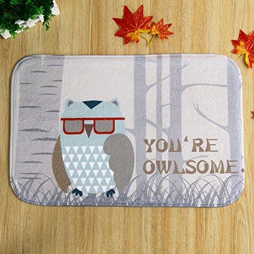 Floor Mat Carpet Owl Print Pattern Living Room 40X60cm 15 6X23 6 Rug Doormat Kitchen Non Slip Coral Fleece Bedroom 1Pcs Lot