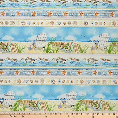 (Henry Glass Coastal Paradise Novelty Stripe Blue, Fabric by the Yard)