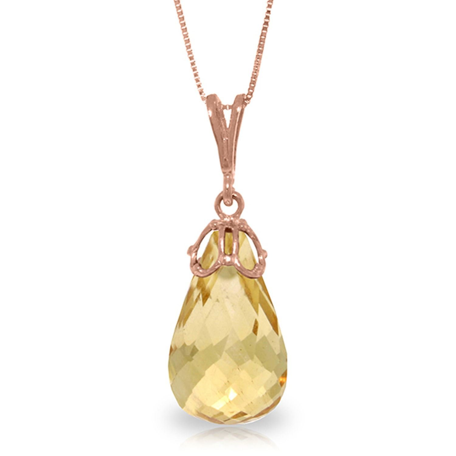 ALARRI 7 Carat 14K Solid Rose Gold Raindrop Citrine Necklace with 18 Inch Chain Length