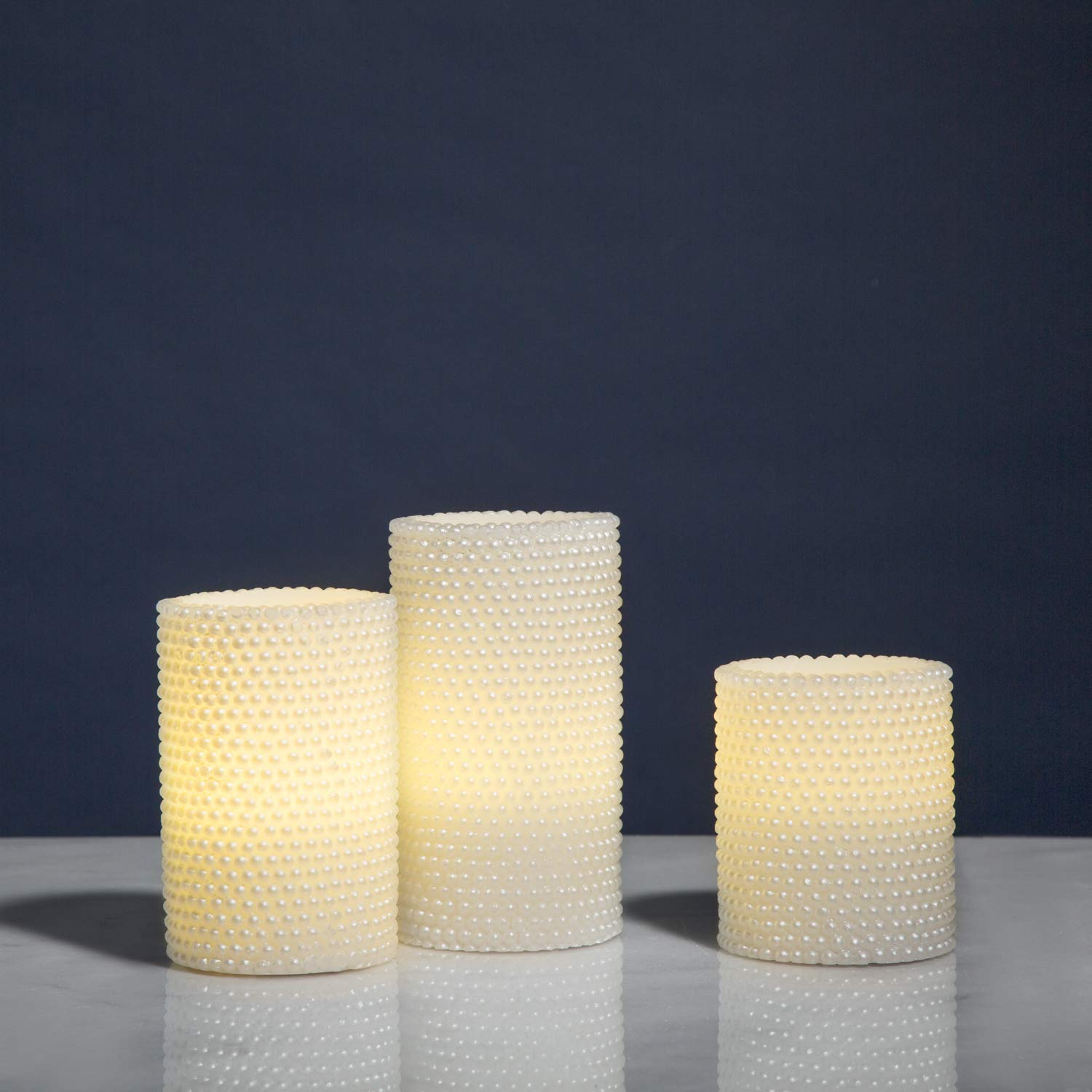 Decorative Textured Flameless Candles Set with Remote, Flickering Pearl Candle by LampLust, 4/8 Hr Timer, Real Wax, White LED Glow, Indoor use - Set of 3 by LampLust (Image #5)