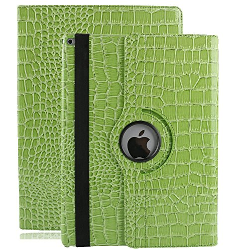iPad Case Air 2,elecfan New 360 Degrees Rotating PU Leather Stand Smart Case Cover Polka Dot Pattern Case for iPad air 2 (iPad air 2, Green)
