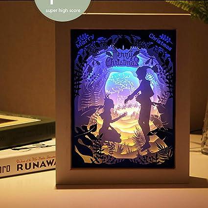 QJXX Caja De Luz De Corte De Papel, Luz De Noche 3D Shadow LED,