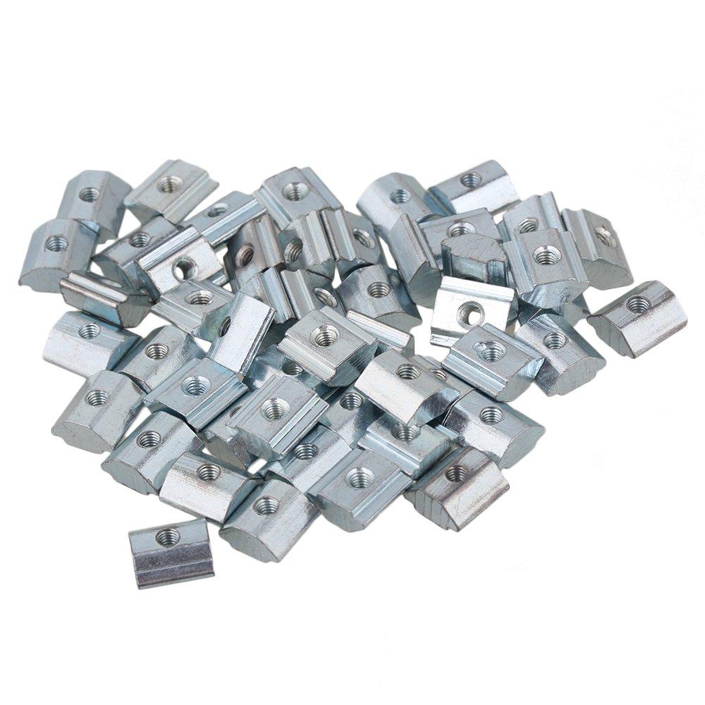 Yibuy 50 20 Serie europä ischen M3 Gewinde T Gleitmutter Block Carbon Stahl Silber etfshop