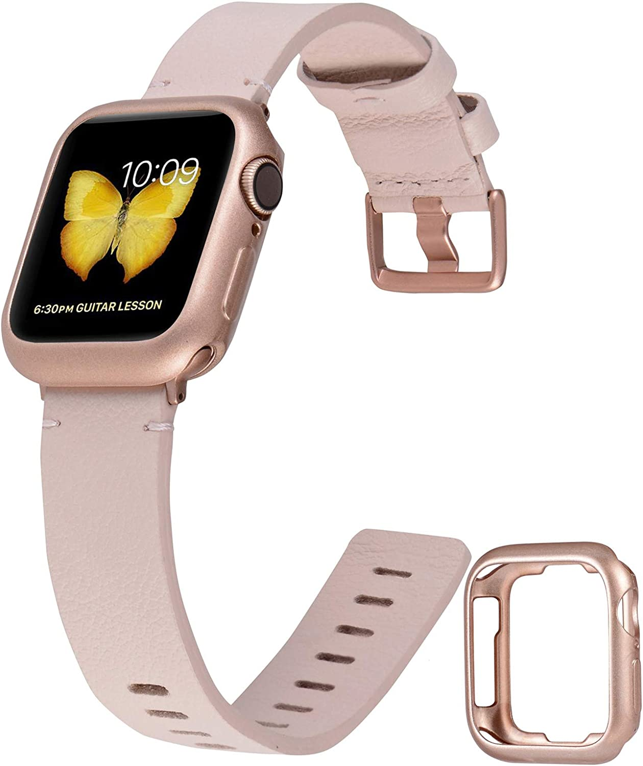 JFdragon Leather Bands Compatible with Apple Watch 38mm 40mm 42mm 44mm Womens Girls Boys Mens Top Grain Leather Strap for iWatch SE/Series 6/5/4/3/2/1