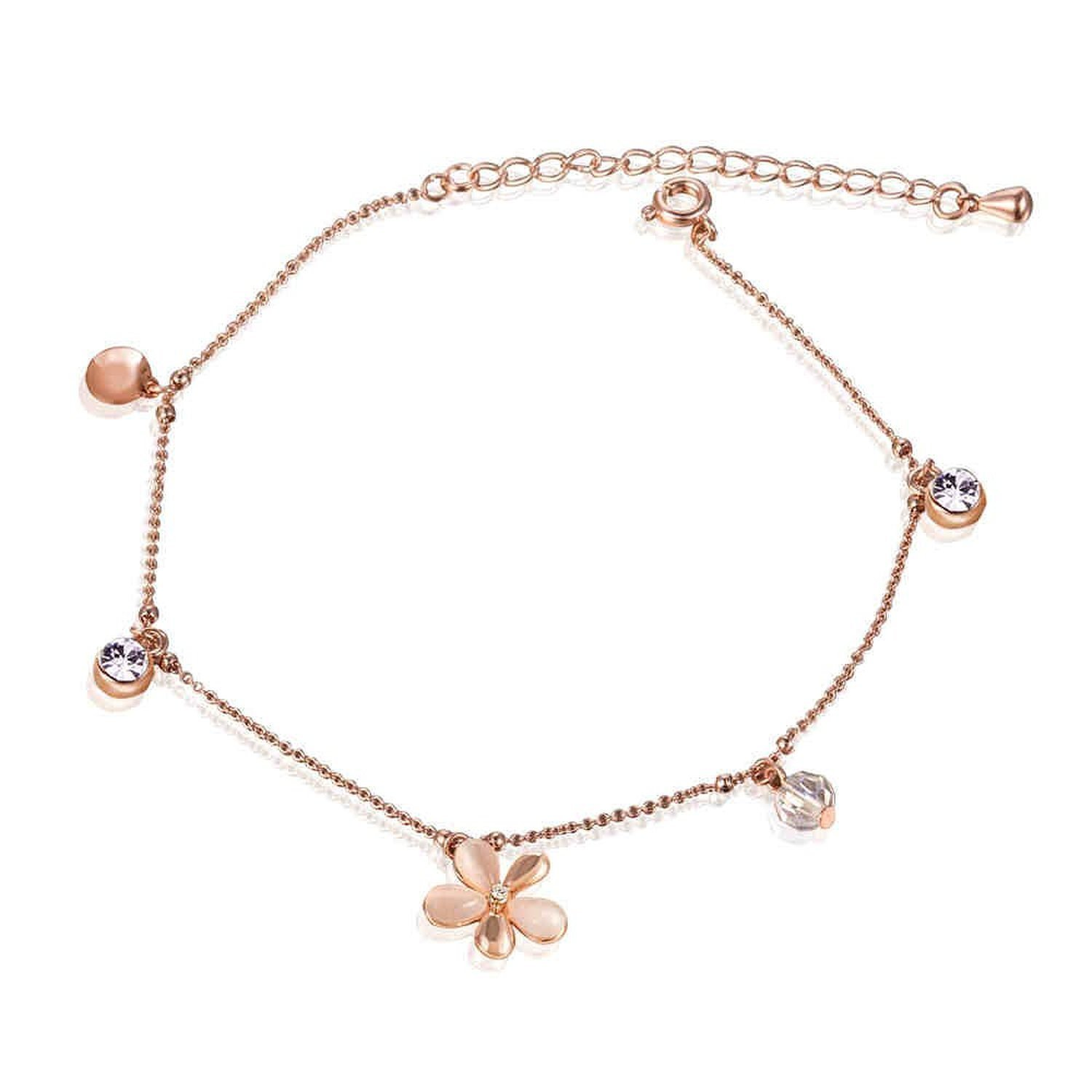 "IUHA""Cute Flowers"" Made with Cat's Eye Sparkling Anklets with Flowers For Women or Girls Present Gifts Prevent allergies"