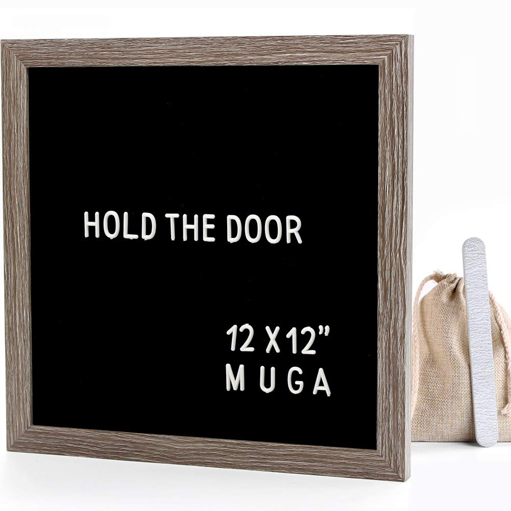 Black Felt Letter Board 12x12 inches - Muga 12x12'' Letter Board with Changeable Letters, 290 White Plastic Symbols & Punctuation, Cursive Words, Free Nail File & Wall Hook, Canvas Bag & Gift Box