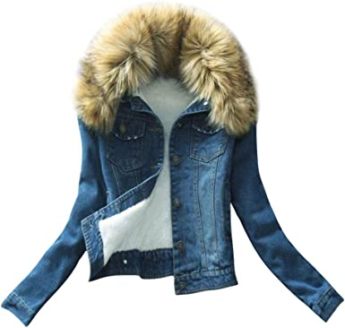 ACE SHOCK Winter Coat for Women Denim Long Thick Sherpa Lined Jeans Jacket with Faux-Fur Hood