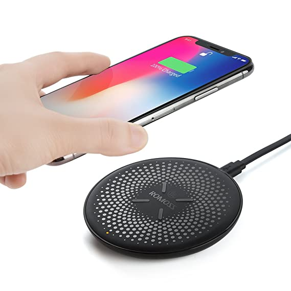 purchase cheap e4b5e 98023 ROMOSS Wireless Charger, Qi Certified Charging Pad for iPhone 8 / iPhone 8  Plus, iPhone X, 10W Fast Charge for Samsung Galaxy S9 / S8 / S7 and All ...