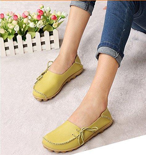 Frauen Driving Schuhe Rindsleder Casual Lace-Up Loafers Bootsschuhe Wohnungen Apfelgrün