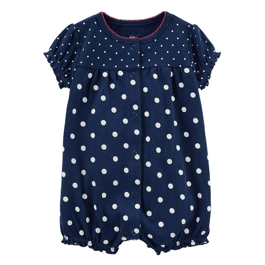 NUWFOR Baby Infant Girl Boy One-Pieces Cartoon Striped Printed Romper Bodysuit Clothes(Dark Blue,0-6 Months)