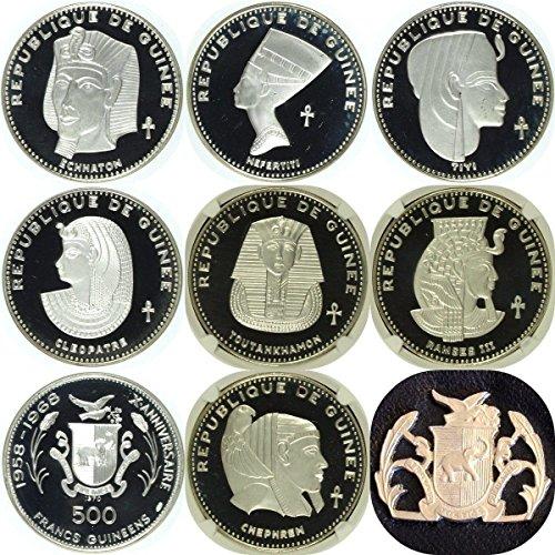 GN 1970 Guinea 1970 Set 7 Silver Coins 500 Francs Ancient PF 64-PF 68