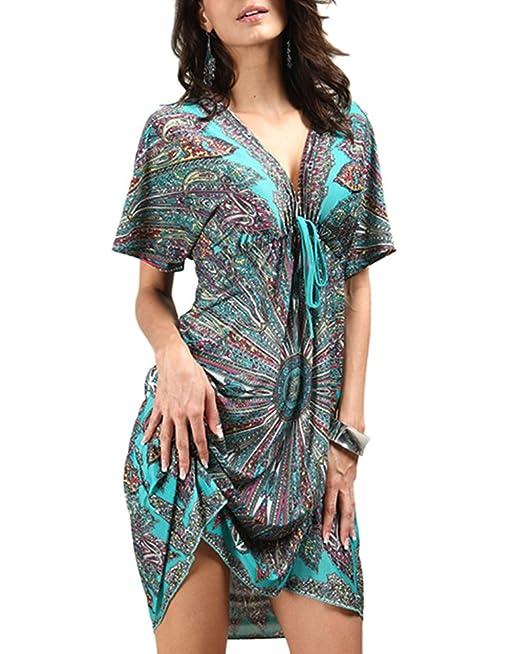 234a044537e8 ZiXing Damen Sommerkleider Strand Chiffon kleid V-Ausschnitt Rückenfrei  Kurze Kleid Loose Minikleider Tops Grün