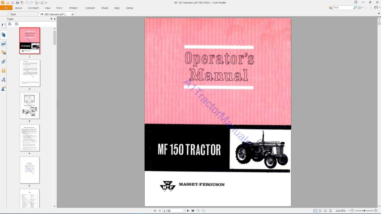 Amazon.com: MF 150 Massey Ferguson tractor manuals on CD - 4 manuals:  Kitchen & Dining