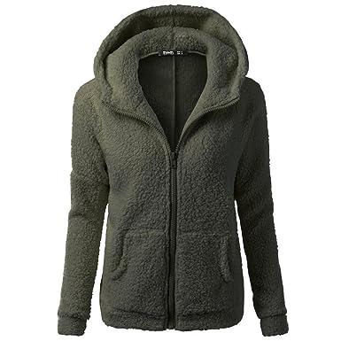 9e1668da64 Jushye Women Winter Hoodies, Warm Thick Hooded Zipper Coat Sweater Wool  Cotton Jacket Hoody Outwear