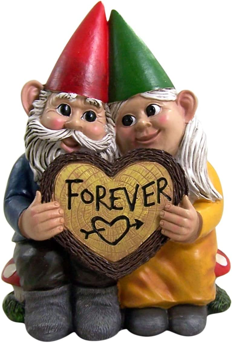 Forever Gnome Old Couple Small Indoor Outdoor Garden Figurine, 6 Inch