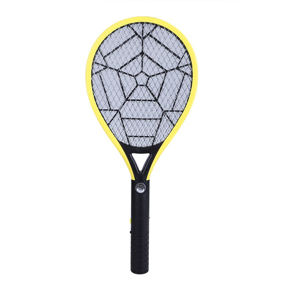 Delaman Bug Zapper Rechargeable Mosquito, Fly Killer and Bug Zapper Racket, 3500V, with LED Light (Color : Yellow)