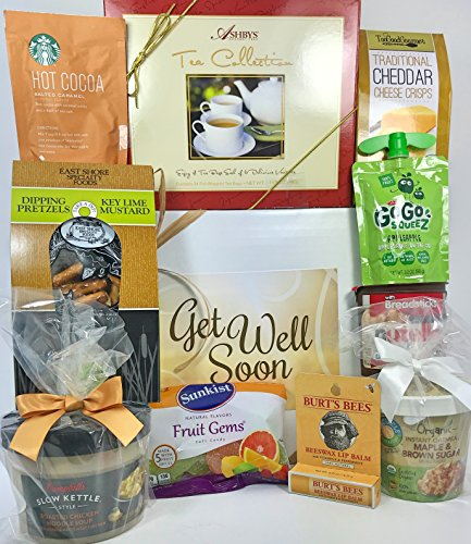 Gourmet Get Well Gift Box Basket - For Cold / Flu / Illness / Surgery / Injury- Over 3.5 Pounds of Care, Concern, and Love - Prime Care Package for Men and Women - Send a Smile Today!