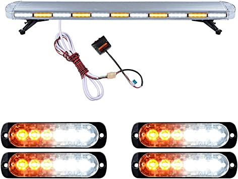 3 LED WORK LIGHT BAR BEACON VEHICLE GRILLE STROBE LIGHT  EMERGENCY WARNING AMBER