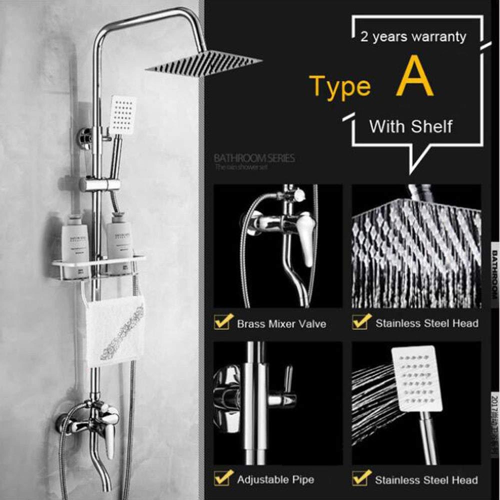 TypeA MICHEN Bright Chrome Shower Faucets with Storage Shelf Swivel Tub Spout Bath Shower Mixer Tap One Handle 3-way Mixer Valve Shower Tap,TypeA